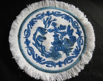 Classic Blue Willow miniature mini rug for one inch scale dollhouse