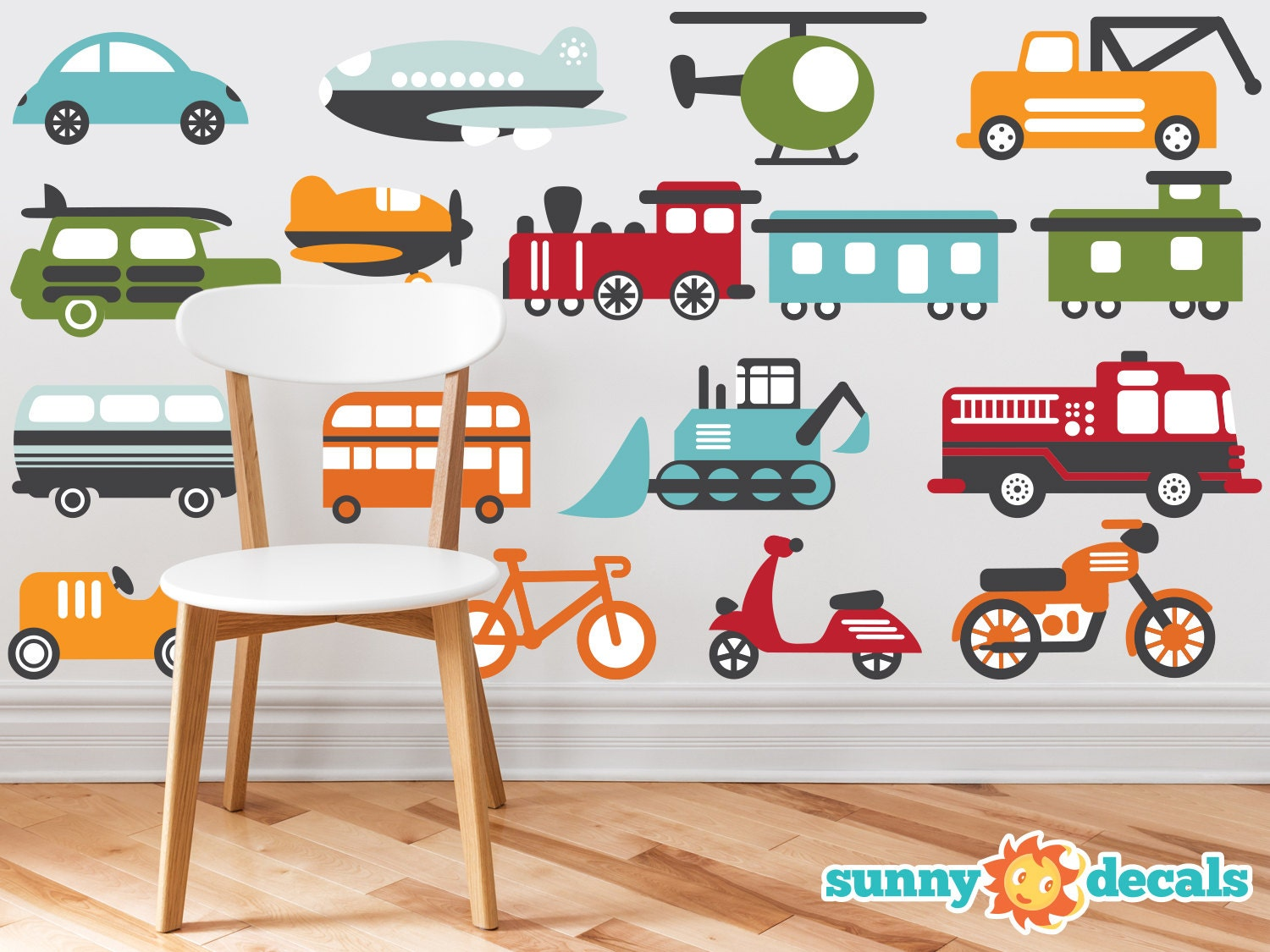 Transportation theme fabric wall decals for nursery and kids for Train themed fabric