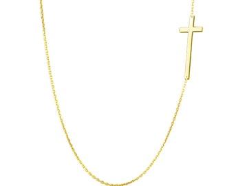 Kelly Ripa 14k Solid Gold Sideways Cross necklace off centered pendant long cross