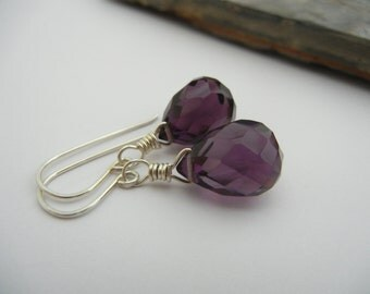Deep Purple Crystal-Sterling Silver Wire Wrapped Briolette  Earring