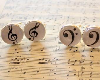 Music Cufflinks,Music Notes,Treble Clef,Bass Clef,Musical Gift,Present for Music Lover,Music Teacher,Secret Santa Present,Stocking Filler
