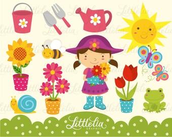 Spring cute Garden Clipart / instant download - 13006