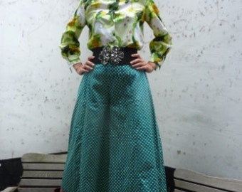 Green blouse with floral pattern