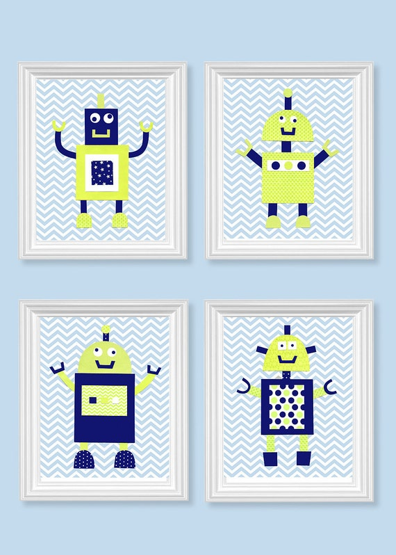 Nursery prints blue : Robot nursery art citron green navy blue chevron boys room decor baby ...