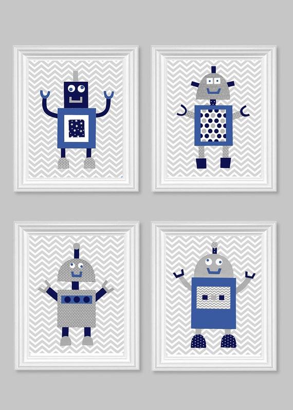 Robot nursery art gray navy royal blue by sweetpeanurseryart for Robot baby room decor