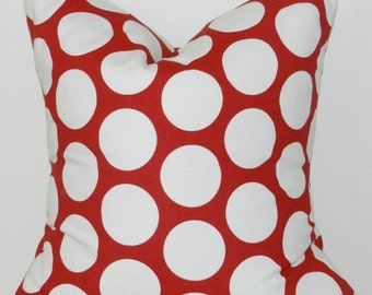 Big Red and White Polka Dot Pillow cover- 18x18, 16x16, 14x14 or 12x18