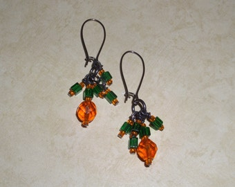 Creative CENTS Orange and Green Bauble Earrings