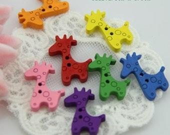 Wholesale -140pcs   Giraffe wood Button DIY Sewing craft,  2.5*1.9cm