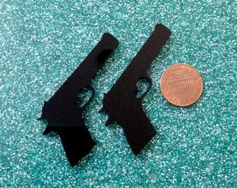 2x laser cut acrylic large gun cabochons