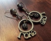 Earrings, Cowgirl Earrings, Love Earrings, Spur Earrings, Christian Earrings, Bead Earrings, Rodeo Earrings Bronze Earrings