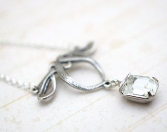 50% OFF Necklace, Art Nouveau Silver Crystal necklace: 2