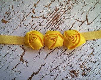 Yellow Triple Rosette Baby Flower Headband, Headband, Newborn Headband