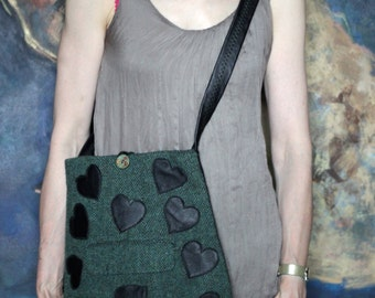 Medium across your shoulders black leather and green harris tweed bag with hearts