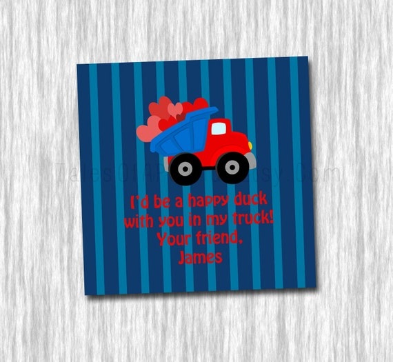 "Valentine's Cards - 3x3"" - Stripe and Valentine's Dump Truck"
