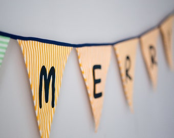 Merry Banner  Holiday Mantle Garland Holiday Photos Banner Vintage Inspired Holiday Banner Christmas Banners Garlands