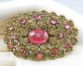 Vintage Rhinestone Brooch Filigree Jewelry Pink Faceted Glass Jewelry 1920s Jewelry Vintage Jewellery Vintage Pin Antiques Collectibles