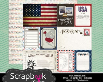 USA Journal Cards. Digital Scrapbooking. Project Life. Instant Download. United States of America. 4th of July