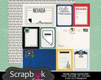Nevada Journal Cards. Las Vegas. Vintage. Digital Scrapbooking. Project Life. Travel. Instant Download.