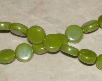 Czech Luster Olive Coins - 8MM