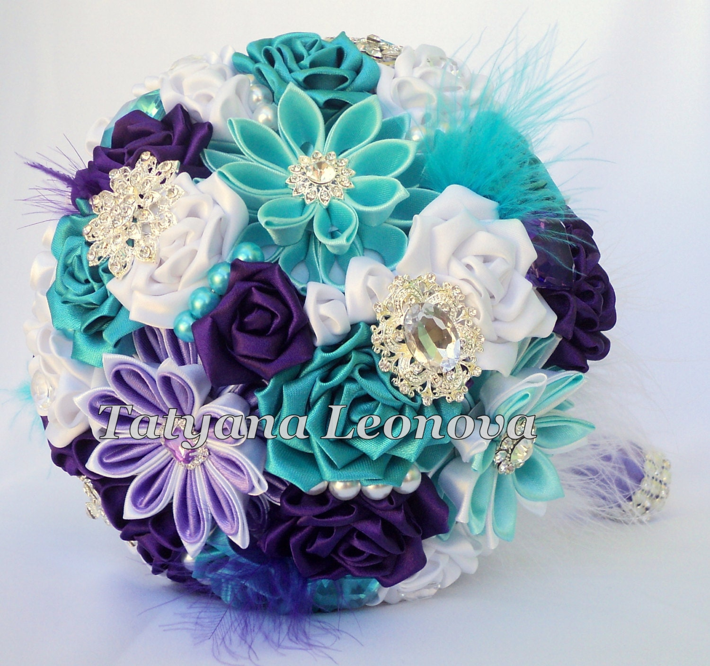 Wedding Bouquet Brooch Bouquet Purple Turquoise White 7