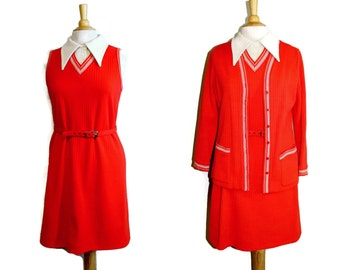 Red Suit 70s 3 Piece Set Dress Knit Shift Dress Set Jonathan Logan