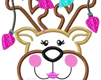 Cute Reindeer Girl With Lights Machine Embroidery Applique Design