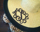 Natural and Black Two Tone Color Monogrammed Sun Hat