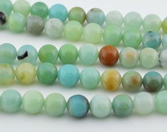 "15.5""  Mix Color  Natural Amazonite 8mm Round Beads , AMAZONITE GEM"