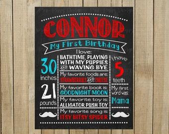 Custom Chalkboard Mustache Birthday Sign, Multiple Sizes Available, Printable, Custom Digital File