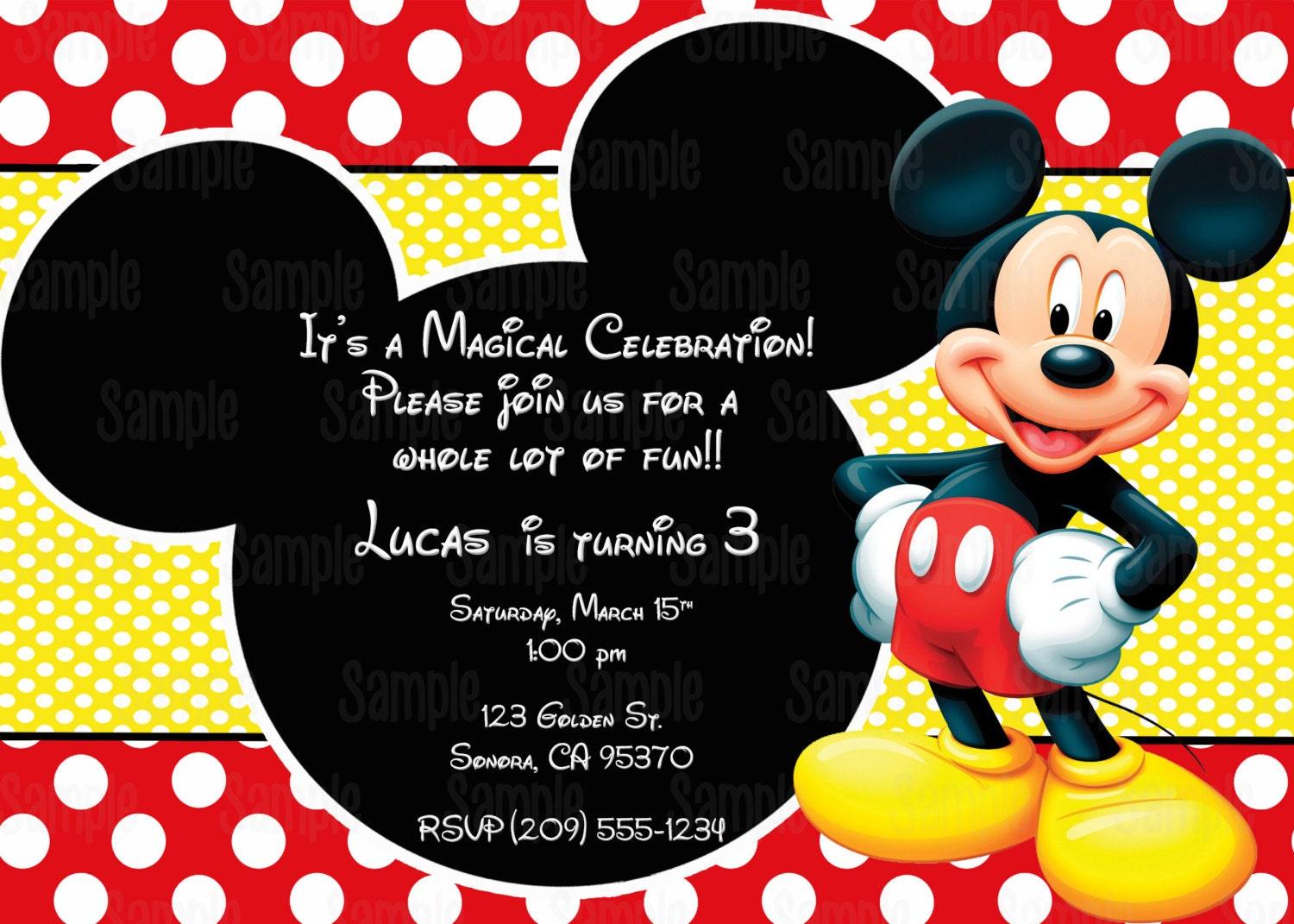 This is an image of Gratifying Printable Mickey Mouse Invitations