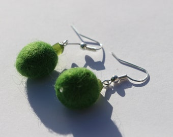 Green Organic Pebble Shaped Wool Felt Earrings Simple and Funky