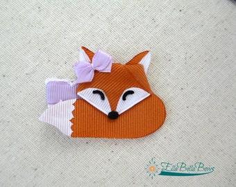 Sleepytime Fox Ribbon Sculpture Hair Clip, hair bow