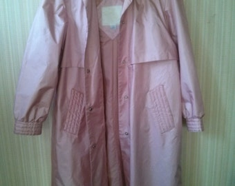Vintage Acetate Pale Pink 70's Trench Coat