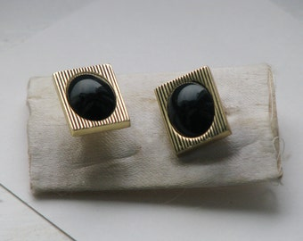 Vintage Metal Cuff Links whith black faux stone - Made in USSR - Accessories Soviet Union era 1970-1980's