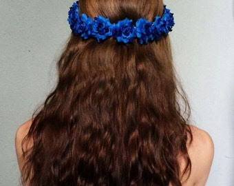 Small Royal Blue Flower Crown