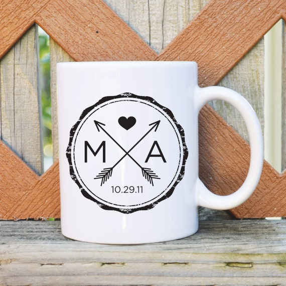 Customized Wedding Coffee Mugs : Custom Wedding Coffee Mug with Initials and Date - Wedding Mug ...