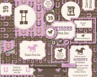 Horse Party Kit with Editable Text, Printable Horse Birthday Party Kit w/ Invitation, DIY Girl Western Horse Party Kit, Pink Horse Party Kit
