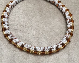Gold and White Bangle Bracelet