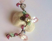 Ear Cuff Pink & Green Swarovski Crystals, Victorian Inspired, Vintage Look, Czech Leafs, Handmade Ear Vine, Antiqued Bronze Wire, Twisted