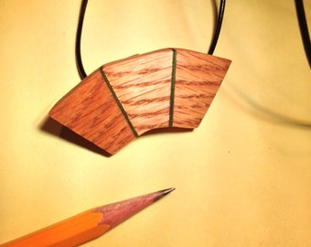 Three-panel oak pendant
