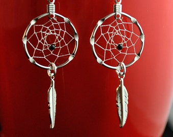 Small Handmade Silver Dreamcatcher Earrings with a Black Bead and feather, Native American inspired, dreamcatcher earrings silver and black