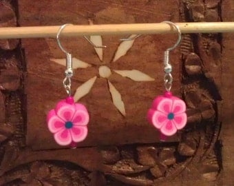 Bright Pink Polymer Flower Earrings