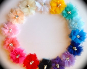 Tulle Flowers with Rhinestones and Pearls