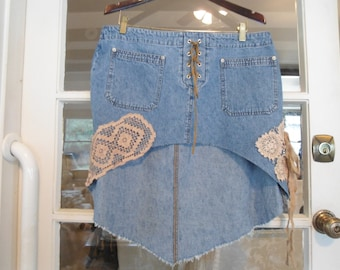 Low Waist Pants Skirt Distressed Laced Up Upcycled Clothes Denim Jeans Hot Pants Summer Pants Mini Skirts High Low Hem Patchwork
