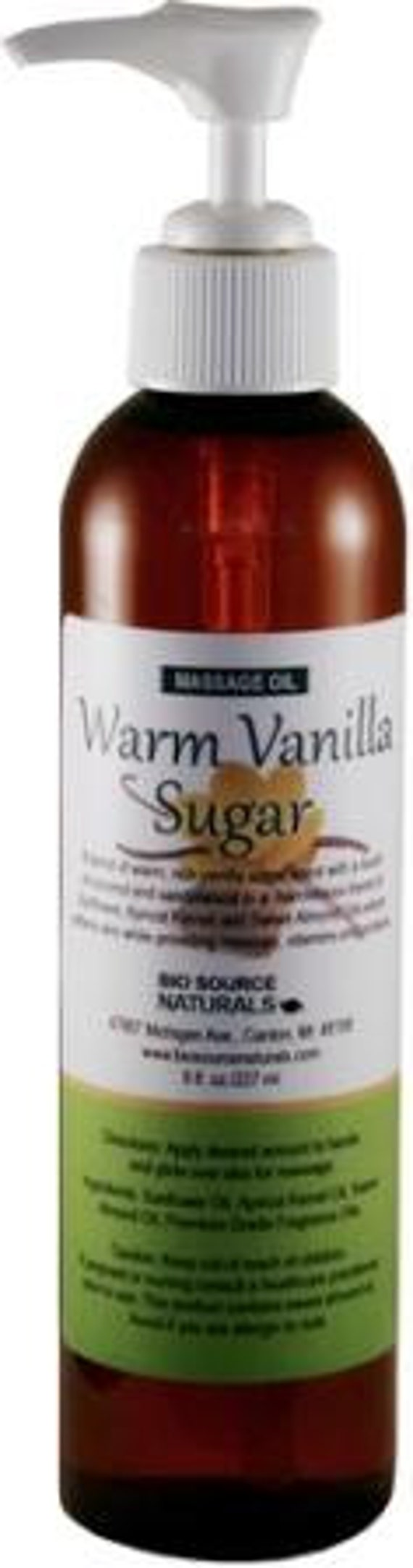 Warm Vanilla Sugar Massage Oil 8 oz with Lock Pump