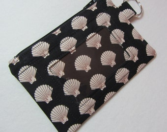 Seashell Keychain ID Wallet w/ Split Ring, Student / Teacher / Work ID, Badge Holder, Zip Pouch, Coin Purse - 2 Options for ID Pocket