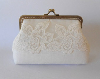 Ivory linen and Lace Purse, Wedding Bridesmaid White Clutch with Kisslock
