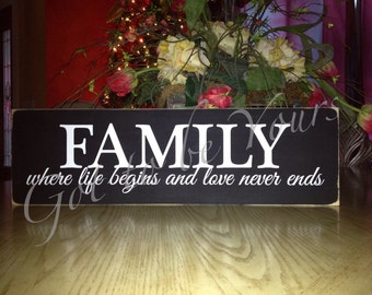 Family-where life begins and love never ends wood sign