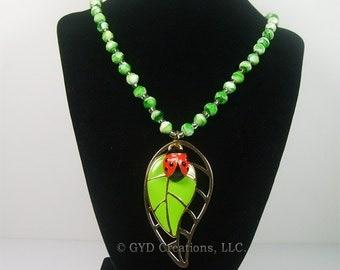 Green Ladybug Necklace, Red Ladybug on a leaf