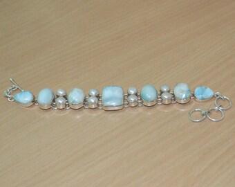 Larimar Bracelet,stone larimar pearl 925 sterling silver bracelet,Genuine Larimar Jewelry,Sterling Silver Bracelet,Larimar bangle Handmade